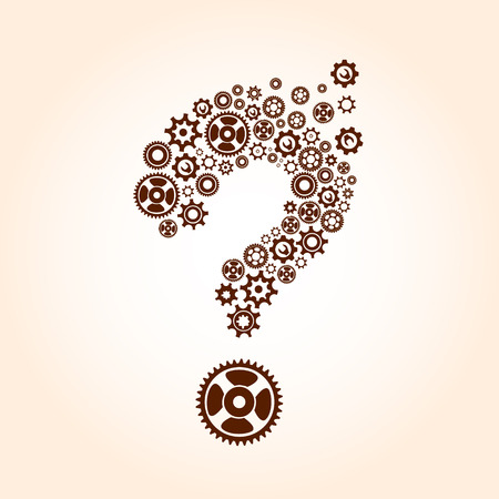 rack wheel: Abstract image with question mark made of gears