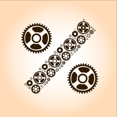 percentage sign: Abstract image of percentage sign made of gears