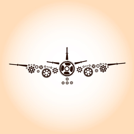 Airplane made by gear decoration vector Illustration