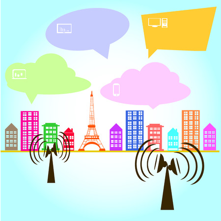 airwaves: Antenna Satellite dish and city background Illustration