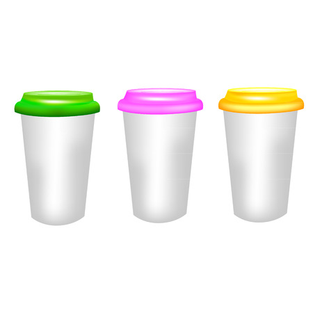 polystyrene: Plastic coffee cup templates over white background