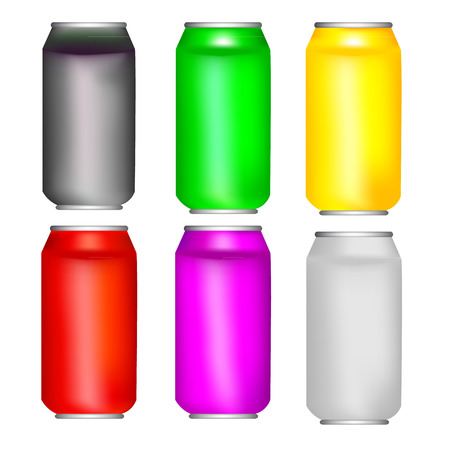 Different colors aluminium cans template Vector