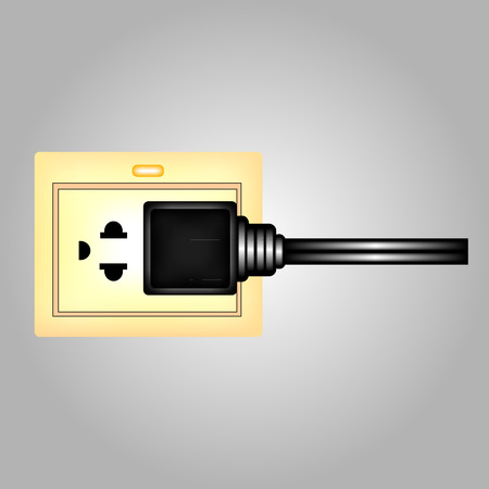 receptacle: Electric power cord loop forms copyspace plug into outlet