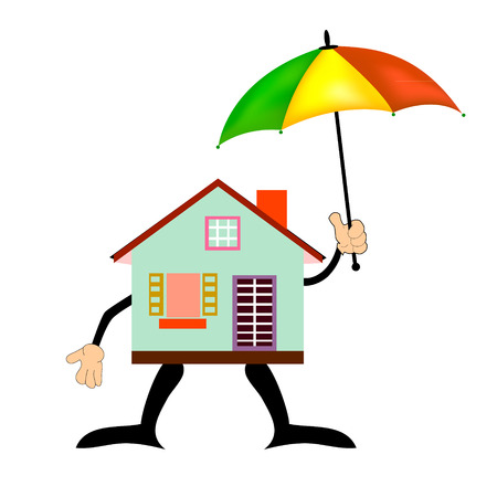 safe house: Home Icon with Umbrella - Safe House Concept, isolated on white background, vector illustration