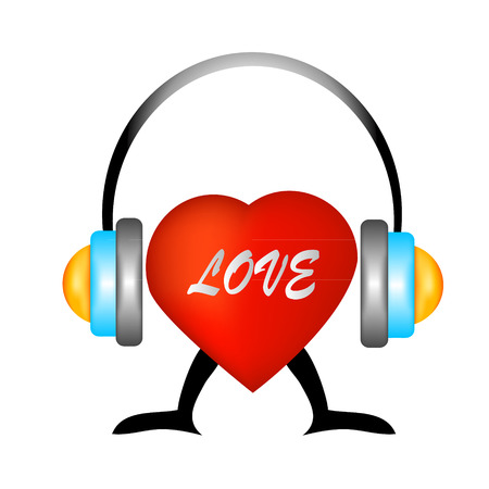 headset voice: Heart with headphones - the concept of a music lover