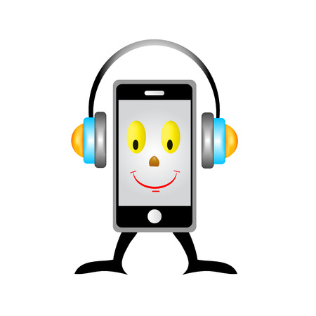 a creative cellphone with headphones isolated on white, portable audio concept Vector
