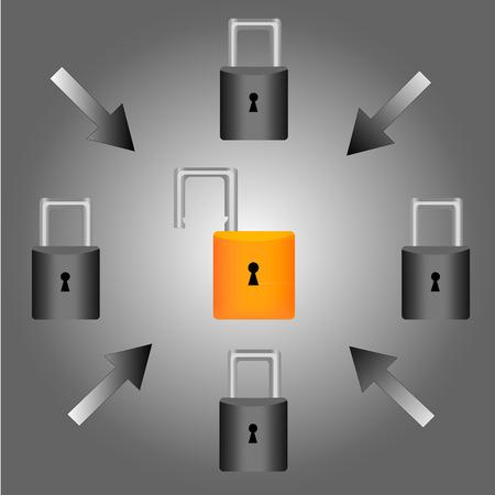 inet: Security concept: Lock on digital screen, illustration