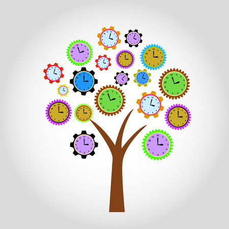 Clock tree. For clock flowers see my portfolio Vector