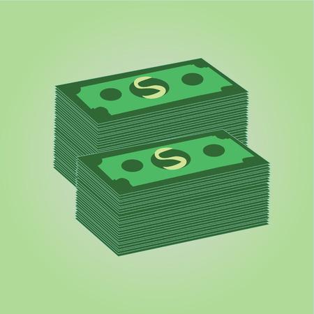 Vector Stacks of Dollars Icon Illustration