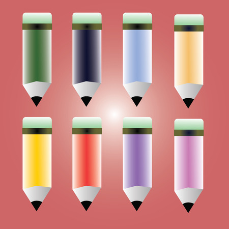 Bright colorful pencils. Vector icons Vector