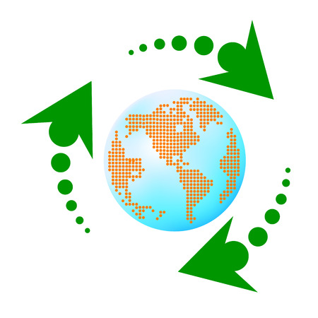 leafage: Recycling arrows with leafage and blue earth Illustration