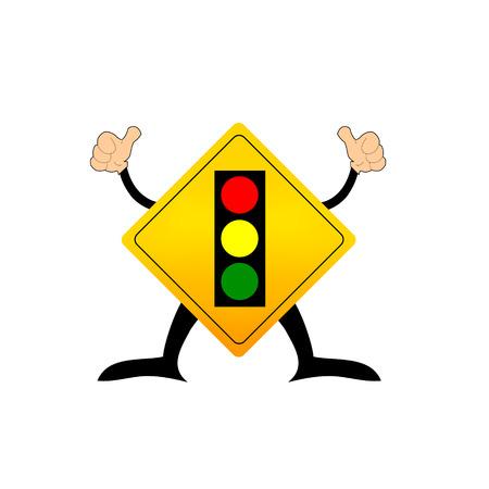 traffic signal: Banner de l�mpara de tr�fico advierte l�mpara de tr�fico por delante. Vectores