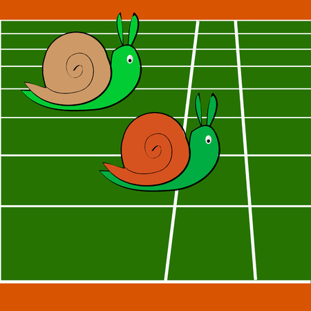 Snails race on sports track near the finish line Vector