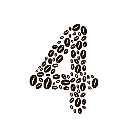 poured: Number 4 made of coffee beans vector set