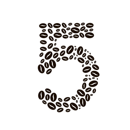 poured: Number 5 made of coffee beans vector set Illustration