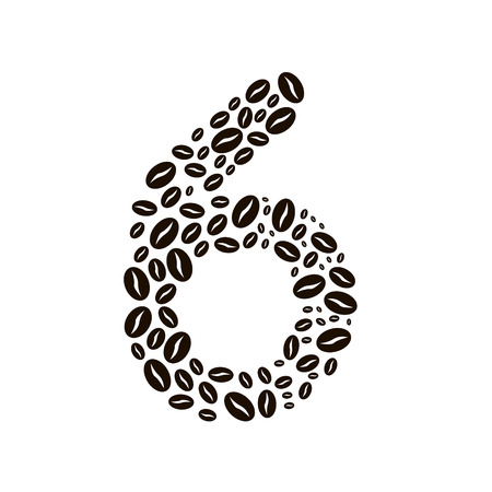 poured: Number 6 made of coffee beans vector set Illustration