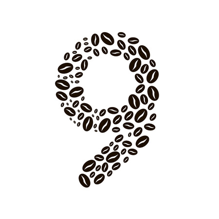 poured: Number 9 made of coffee beans vector set
