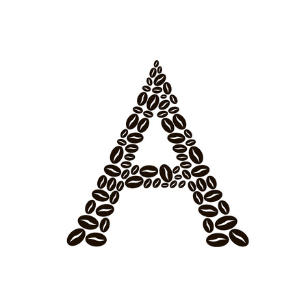 poured: Letter A made of coffee beans vector set