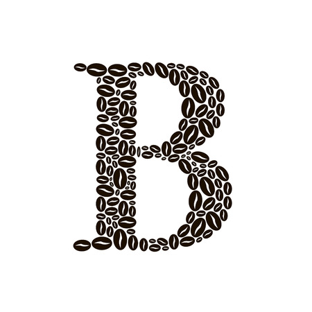 poured: Letter B made of coffee beans vector set