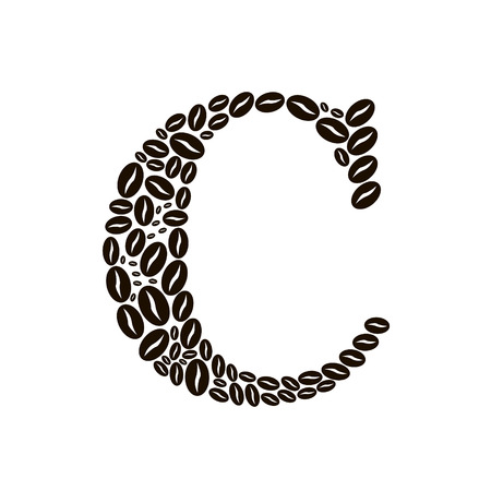 poured: Letter C made of coffee beans vector set Illustration