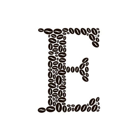 poured: Letter E made of coffee beans vector set