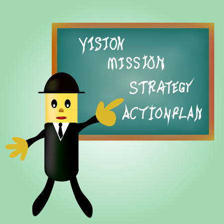 business man pointing business concept vision - mission - strategy - action plan.