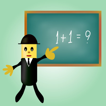 man pointing: business man pointing a blackboard