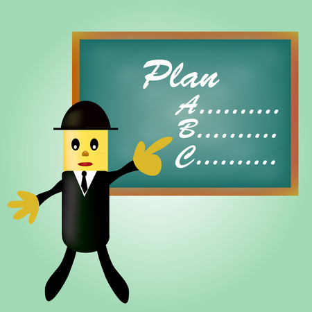 contingency: business man pointing planning Illustration