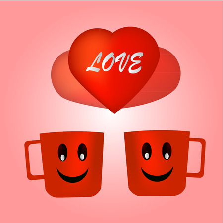 Red Love Coffee Vector