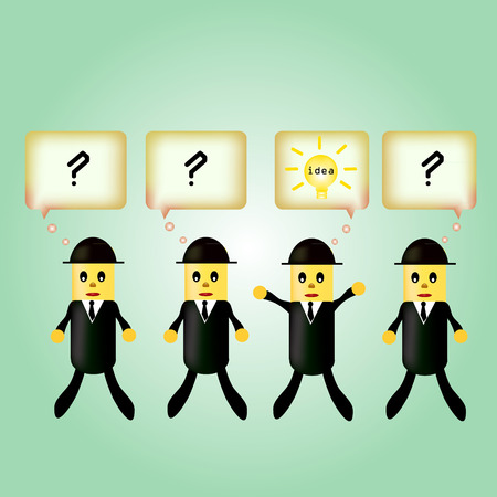 the concept of the idea business success. businessman with light bulb in speech bubble, bright idea get more effective work. vector. Vector