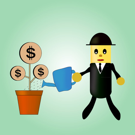 cartoon character of businessmen are watering with his money tree. Vector