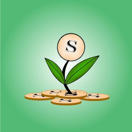 symbolize: Growing money, vector illustration