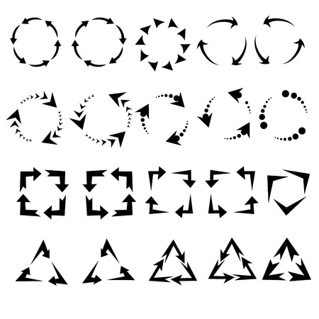 groupware: circle arrows icon, pictogram refresh reload rotation loop, signs of recycling. vector set