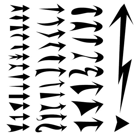 straight edge: straight arrows icon set, various style, edge, curve, sharp and blunted on white background