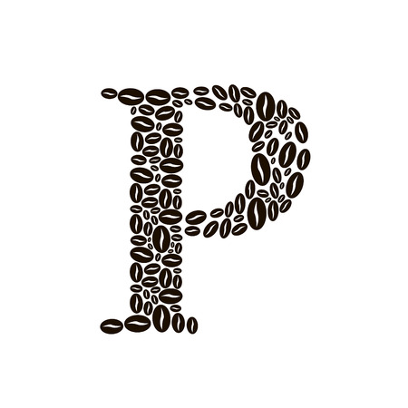 poured: Letter P made of coffee beans vector set