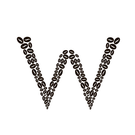Letter W made of coffee beans vector set