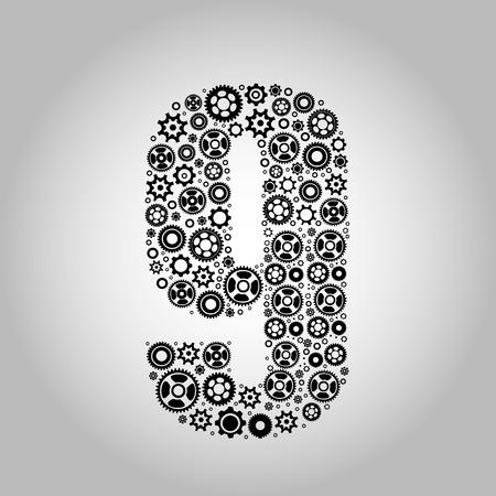 Medical font. alphabet made of medical pills. number 9 Vector