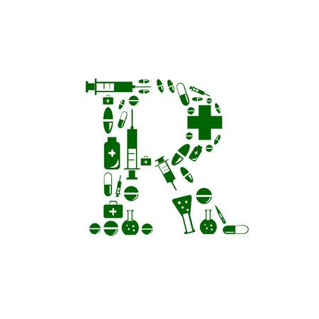 hesitation: Letter R, alphabet of medicine pills