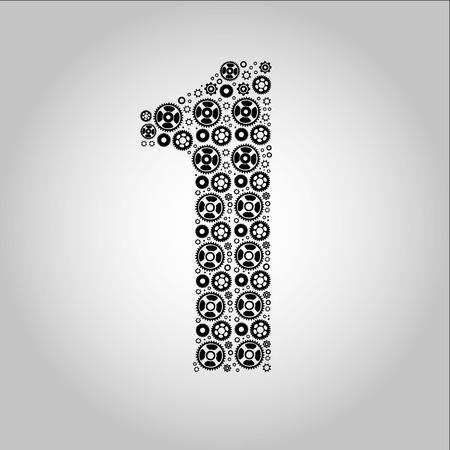 ideograph: Alphabet - Gear-number 1 Illustration
