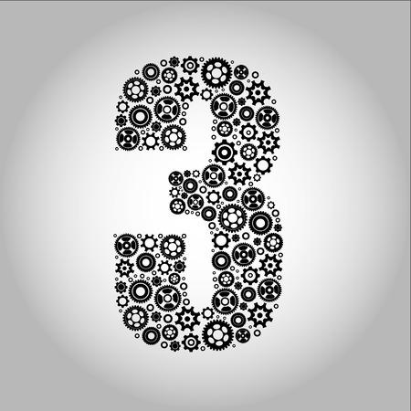 ideograph: Alphabet - Gear-number 3
