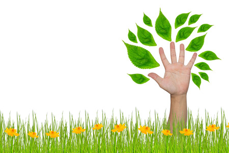 hand forming a tree with leaves Stock Photo