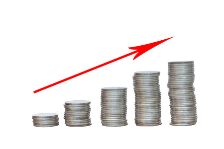 coins and graph them Stock Photo