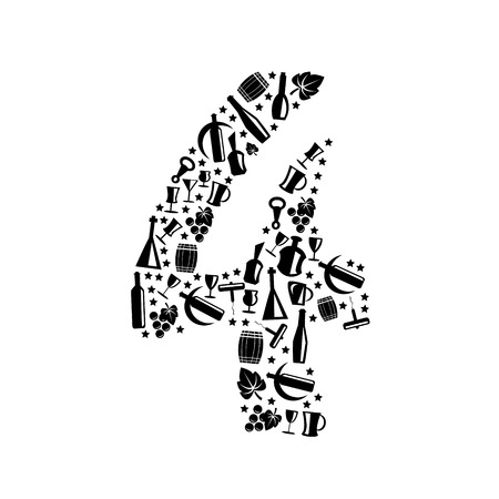 numbers icon: Abstract vector number 4 made from Wine icon - numbers set