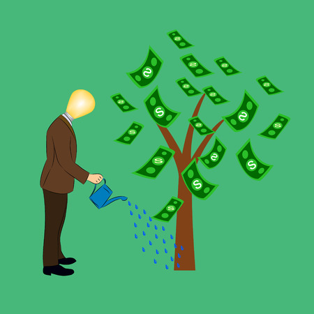Businessman watering a money tree Vector