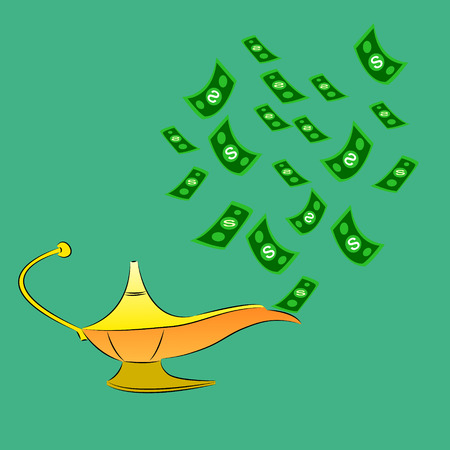 Money fly out of Aladdins magic lamp. Business concept Vector