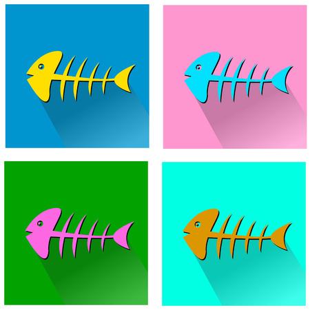 Fish bone. symbol of a cat. vector illustration Vector