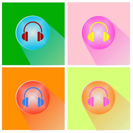 Headphones icon button vector Vector