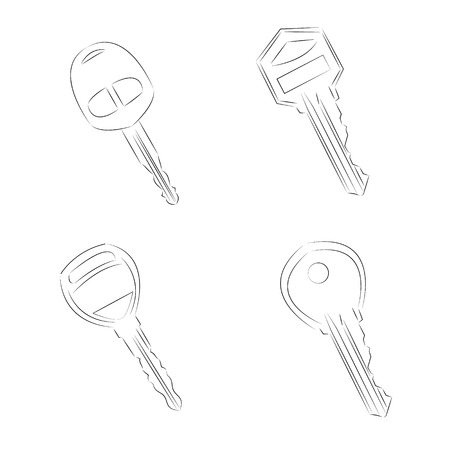 Vector Single Lineart Modern Key Vector