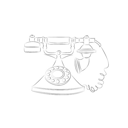 telephonic: cartoon vector outline illustration telephone ringing