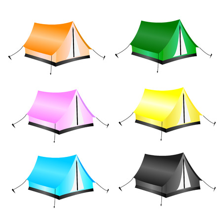 Set of tourist tents Vector